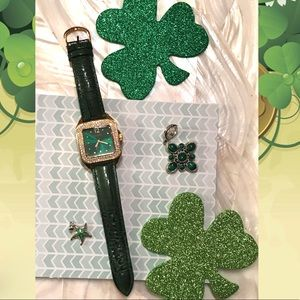 Joan Rivers crystal watch w/green leather band